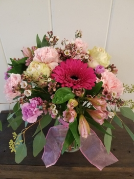 All pink flower arrangement